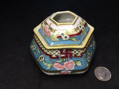 Chinese Antique Hand-painted Porcelain Ceramic Bowl /Lid Swastika Flowers Marked