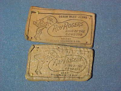 2-Orig 1950s ROY ROGERS Denim BLUE JEANS Leather NAME TAG LABELS Sears Roebuck