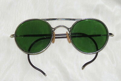 Bausch & Lomb vintage green safety glasses with wire rims -  steampunk!