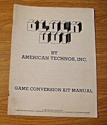 Vintage 1989 American Technos Block Out Manual ~ Pinball & Arcade Machine Game
