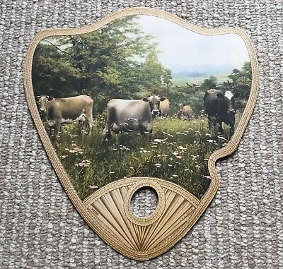 Antique Vtg Advertising Paper Hand Fan - Field W/ Cows - 3305 - Fa S