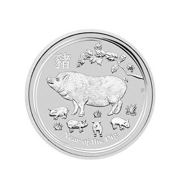 2019 Australia Lunar YEAR OF THE PIG 1oz Silver BU Coin, SOLD OUT at Perth Mint