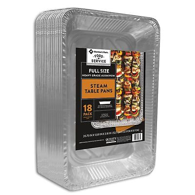 Aluminum Foil Pans Full Size Heavy Duty Steam Table Food Service Trays 18 ct.