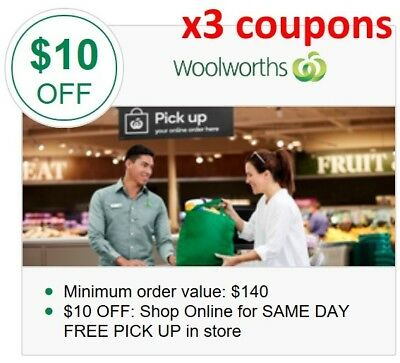 Woolworths 3x$10 off vouchers. Email delivery. Save $30 on your online shopping!