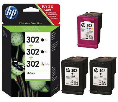 3x ORIGINAL HP 302 TINTE PATRONEN OfficeJet 3830 3831 3832 3833 3834 3835 4650