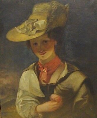 Large 19th Century English Portrait Of Lady Holding A Rose Antique Oil Painting