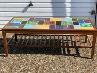 Vintage 1960s Mid 20th Century Malkin Johnson Tiled Top Occasional/Coffee table