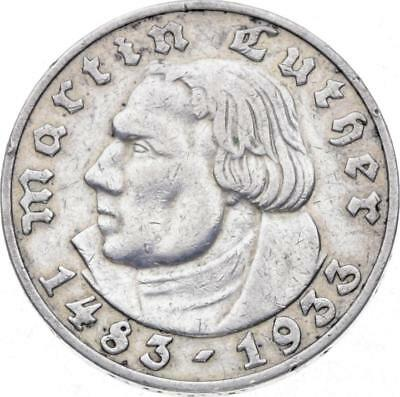 Drittes Reich - 5 Mark 1933 D - Luther