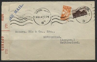 South Africa 1944 , Early Censored 2 Covers To Lausanne & Aargau Vf/used.#j549