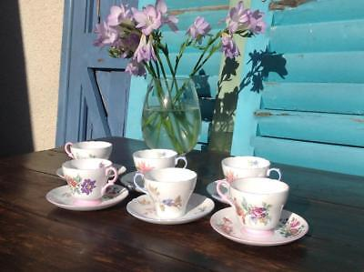 Vintage 1950's Shelly Tea Cup And Saucers Fine China Floral Pink & Blues x6 Xmas