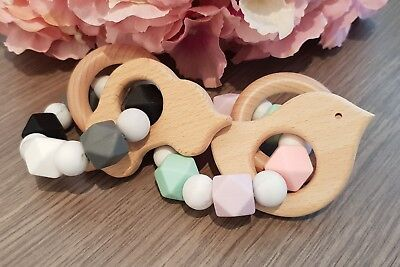 Baby Wooden Teether Bird and Car Shape Chew Beads Teething Toys Baby
