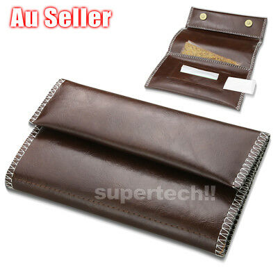 Men's Faux Leather Cigarette Pipe Tobacco Pouch Bag Case Rolling Paper Holder
