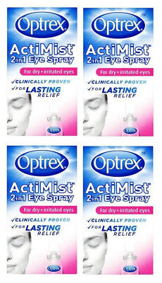4 x Boxes - Optrex Actimist 2in1 Dry + Irritated Eye Spray 10ml FREEPOST