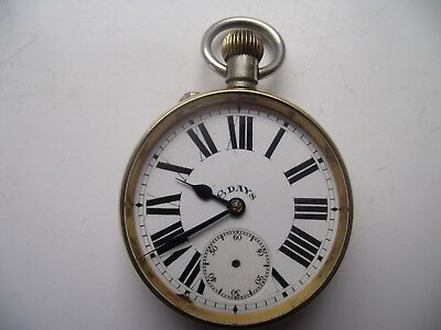 Antique 8 Day Movement Pocket Watch Silver Nickel Case Running See Pictures