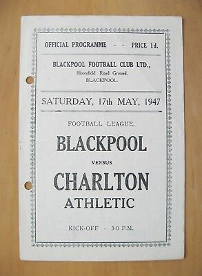 BLACKPOOL v CHARLTON ATHLETIC 1946/1947 *Good Condition Football Programme*