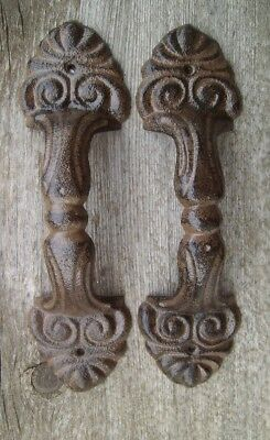 "Set of 2 Large 8.5"" Fancy Cast Iron Gate Barn Door Shed Pull Handle Brown Finish"