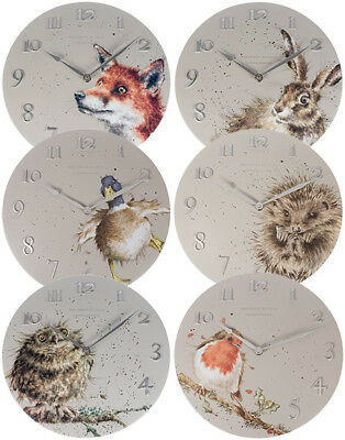 Wrendale Designs Wall Clock by Hannah Dale 30cm Hare Owl Hedeghog Fox Duck Robin