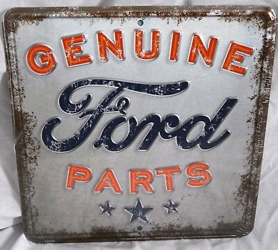 Ford Sign Genuine Parts Embossed Rustic Vintage Metal Advertising Tin New USA