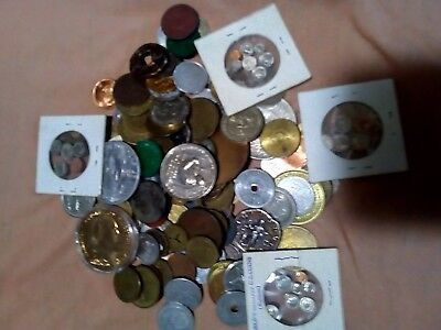 Tokens US & world large diverse lot of 100 coins  lotsep6429