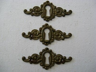 ORNATE SET of 3 ANTIQUE BRASS ESCUTCHEONS KEYHOLE COVERS