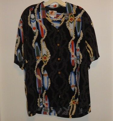 Vintage Diamond Head Sportswear 100% Rayon Surfboard Men's Hawaiian Shirt Size L