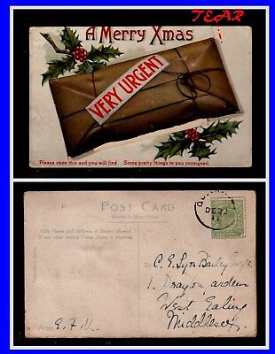 Christmas Card With Surprise Pictures In Envelope. 1911. Used.  Lot-481