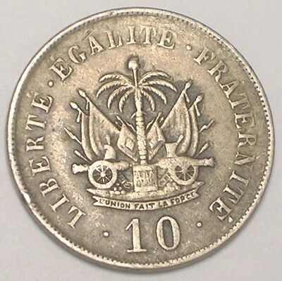 1906 Haiti Haitian 10 Centimes Cannons in Arms Coin F