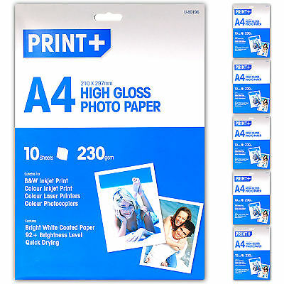 50 Sheet Pack A4 HIGH GLOSS PHOTO PRINTER PAPER 230gsm THICK Quick Drying