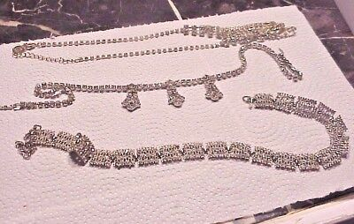 Lot Of 3 Beautiful Clear Rhinestone Necklaces- 2 Vintage