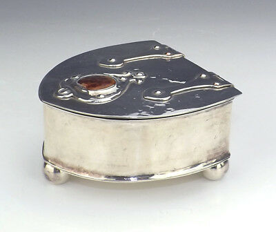 Antique Silver Plated Arts & Crafts Lidded Box With Pottery Cabochon - Nice!