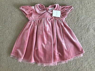 NEXT BABY GIRL PINK VELOUR DRESS SIZE 3 To 6 MONTHS