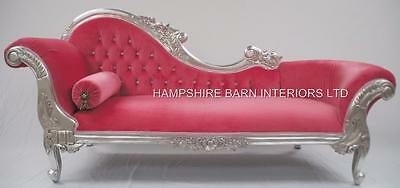 Large French Style Ornate Chaise Longue Sofa Silver Leaf  Pink Crystals