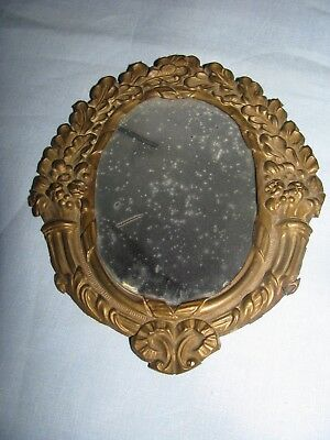Georgian Mirror Antique Traveling C.1800-15 Urns Of Flowers Brass Rare