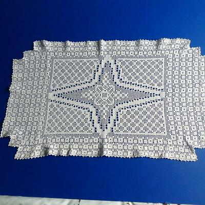 """Lovely Vintage Art Deco Style Crocheted Filet Lace Table Mat 13"""" x 23"""""""