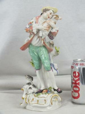 "Fine 10"" 20Th C Meissen Floral Coat Gentleman Lamb & Dog Figure"