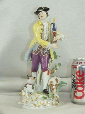 "Fine 10"" 20Th C Meissen Yellow Coat Bagpipe Gentleman Figure Lamb & Dog"