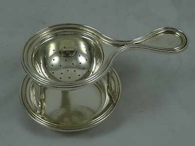 QUALITY, solid silver TEA STRAINER ON STAND, c1960, 133gm