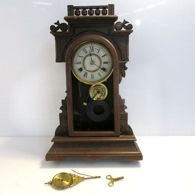 Antique 20'' Wooden New Haven Clock Co Table Clock with Key
