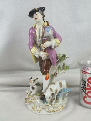 "Fine 10"" 20Th C Meissen Purple Coat Bagpipe Gentleman Figure Lamb And Dog"