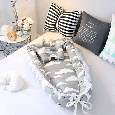 Baby Cocoon Infant Sleep Nest Reversible Coushion Bed With Soft Insert