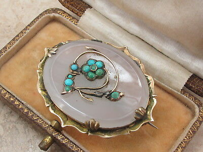 Antique Victorian 9ct 9k 375 Gold Chalcedony & Turquoise Forget Me Not Brooch