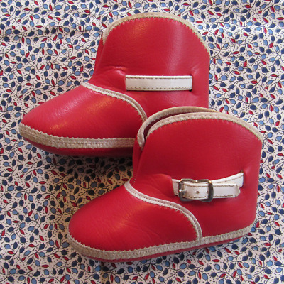 """Adorable Vintage Red Buckle Baby Cowboy Booties Boots Infant Soft Leather 4"""" Sz"""