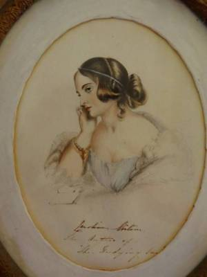 A Charming Georgian Hand Painted Portrait Of Beautiful Lady C.1810