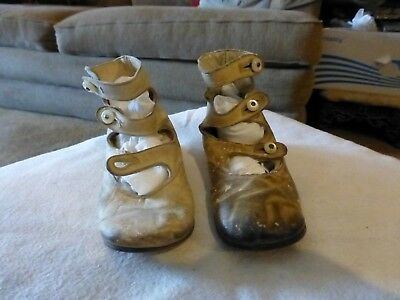 Two Ca. 1900 Button-Up Baby Shoes-Two Sizes-Too Cute!  3 Buttons Each
