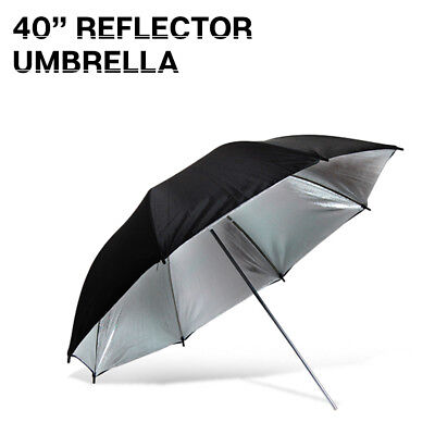 "40"" Photo Studio Black/Silver Photography Umbrella Reflector Continuous Light"