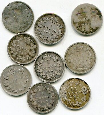Canada 5 cents silver lot of (9) Rough coins      lotsep3024