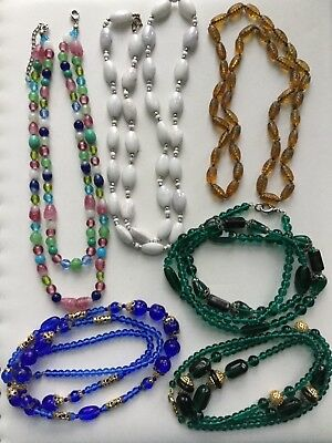 Lot Of Vintage Art Glass Necklaces 6Pc Blue Green Amber