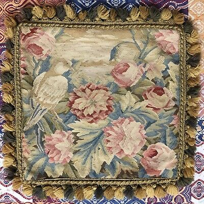 ANTIQUE 19C AUBUSSON FRENCH HAND WOVEN TAPESTRY CUSHION 54 X 70 Cm