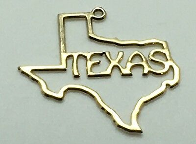TEXAS STATE MAP Gold Tone Charm Cut Out Texas Word Lone State Outline  Patriotic