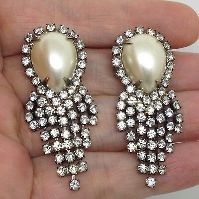 Signed MUSI Vintage RHINESTONE DANGLE SHOE CLIPS Clear Glass Faux Pearl Jewelry